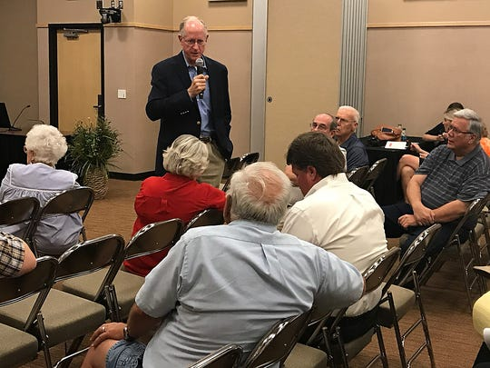 U.S. Rep. Mike Conaway answers questions at a town hall meeting at the McNease Convention Center Sept. 19, 2017.
