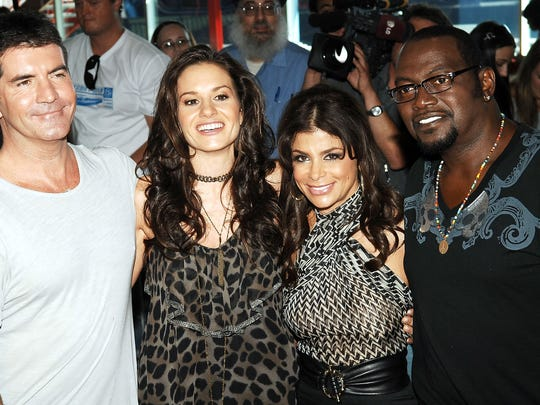 "NEW YORK - AUGUST 26:  (L-R) American Idol Judges Simon Cowell, Kara DioGuardi, Paula Abdul, and Randy Jackson attend auditions for ""American Idol"" season 8 at Chelsea Piers on August 26, 2008 in New York City. (Photo by Gustavo Caballero/Getty Images)"