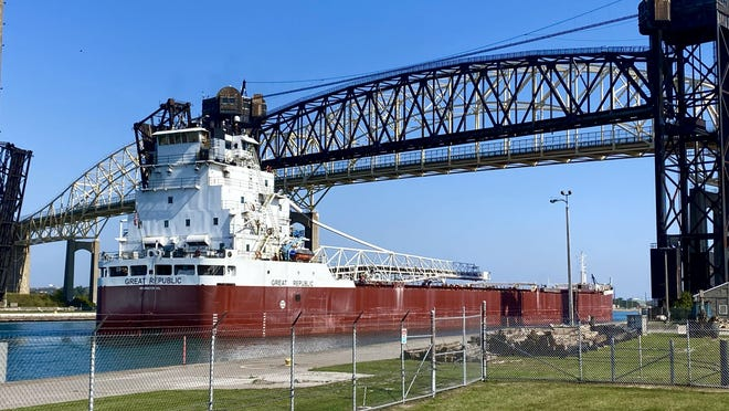 The Great Republic navigating its way into the Soo Locks, passing underneath the International Bridge between the U.S. and Canada, on the afternoon of Wednesday, Sept. 23.