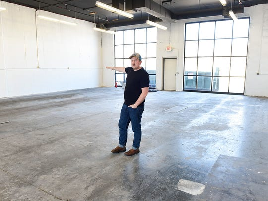 Guytano Magno, owner of Studio 203, shows the 3,000-square-foot addition to his coworking space Tuesday, March 7. The expansion under construction will feature a fully functioning kitchen area, a lounge and between 11 and 16 new office spaces.