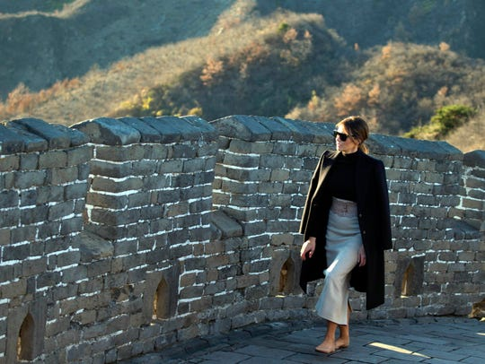 U.S. first lady Melania Trump walks along the Mutianyu