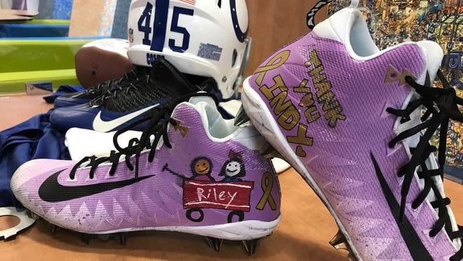 Matt Overton donated to Riley Hospital a pair of his cleats, with the names of four Riley patients. One of those names is Brianna Kay Lowe, a former Wapahani High School student who died at the age of 19.