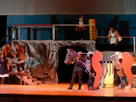 Aslan, operated by a crew of three, takes the stage during a rehearsal for Middletown High School's production of The Lion, The Witch and the Wardrobe.
