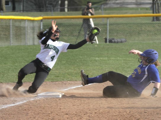 Madison's Sloan Kiser catches the ball as Ontario's