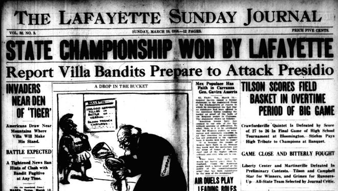 The front page of the March 19, 1916, Lafayette Sunday Journal told of Lafayette Jeff's 27-26 victory in the state finals.