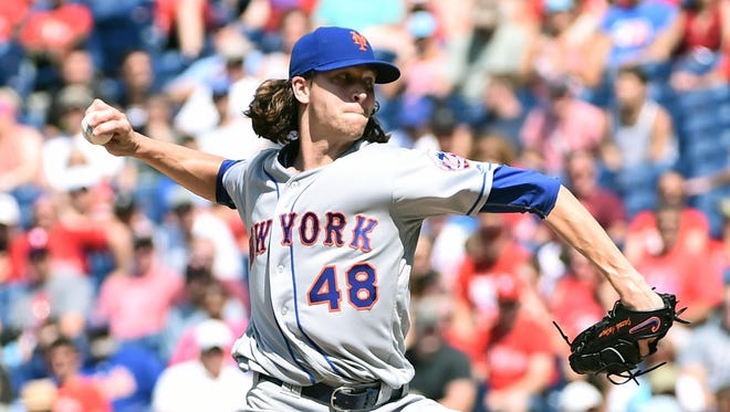 New York Mets starting pitcher Jacob deGrom throws a pitch during the eighth inning against the Philadelphia Phillies at Citizens Bank Park in Philadelphia. The Mets defeated the Phillies, 5-0.