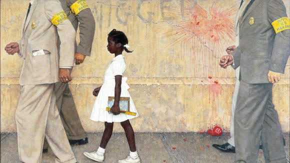 This Norman Rockwell painting depicted Ruby Bridges being escorted by U.S. marshals into a New Orleans school in 1960. The work appeared in Look magazine in 1964.