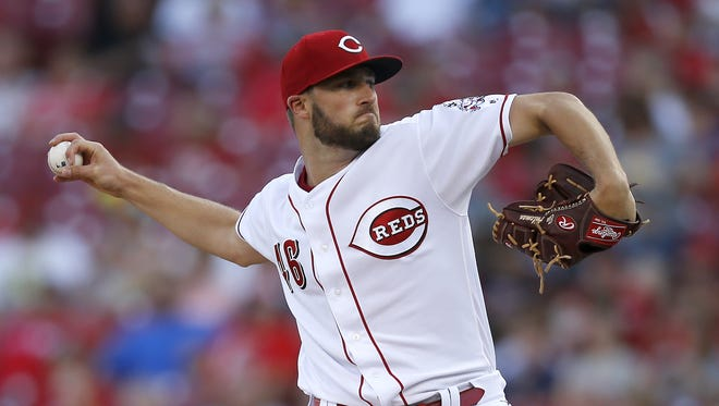 Cincinnati Reds starting pitcher Tim Adleman (46) delivers a pitch in the first inning during the game between the Cincinnati Reds and the Washington Nationals at Great American Ball Park on July 14, 2017.