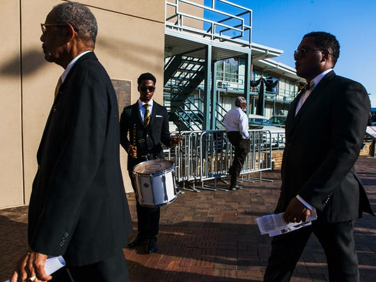 April 4, 2017 - Colby Mitchell beats on a snare drum as fellow members of Alpha Phi Alpha Fraternity, Inc. march into the National Civil Rights Museum following a presentation at the MLK50: Where Do We Go From Here? 6:01 Commemoration on Tuesday. A wreath laying ceremony was held to remember civil rights leader Dr. Martin Luther King, Jr., 39, who was assassinated as he stood on the balcony, in front of Room 306, 49 years ago today in Memphis.