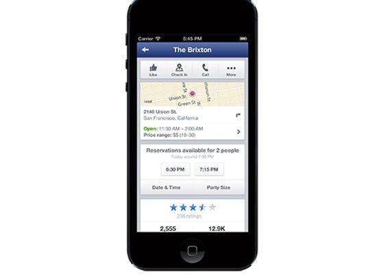 Facebook reservation