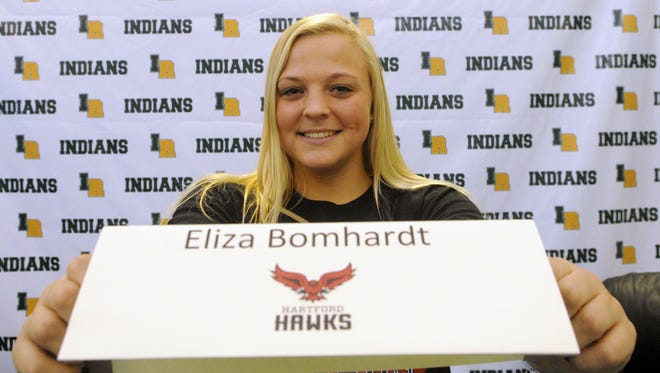 Indian River softball player Eliza Bomhardt will play for the University of Hartford.