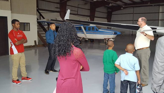 On Wednesday, October 12th, Clarksville Regional Airport Director, John Patterson and North Central Institute representative, Leo Jordan, shared aviation and career information to Leap Youth as they toured the airport and college.