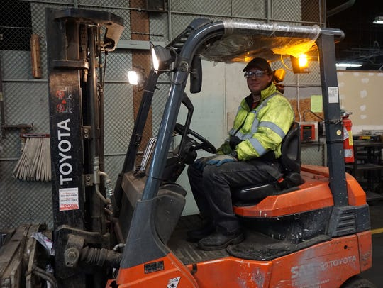 Jody Ulricksen is a forklift driver for the recycling
