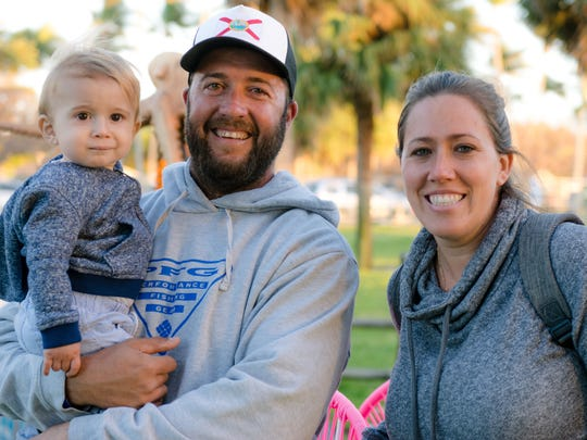 "It has been a family tradition, coming to the Jupiter Seafood Festival, Katie and Jason Armentano agreed. ""Its so much more special now that we can bring our son Cruz."""