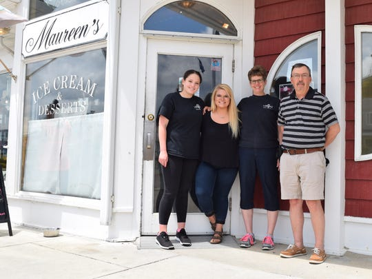 From left: Co-managers Megan Eller, Brooke Roughton and Beth Eller stand with owner Hank Pilot outside Maureen's in Bethany Beach.