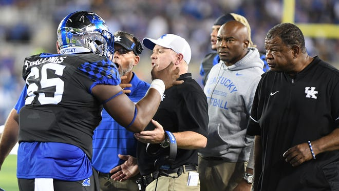UK C Bunchy Stallings complains to the coaching staff during the University of Kentucky football game against University of Florida in Lexington, KY on Saturday, September 23, 2017.