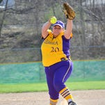 Emily Carlin tossed a six-inning one-hitter for Elmira College in the second game of a doubleheader sweep over Alfred State on Wednesday.