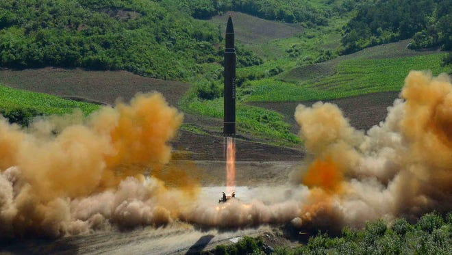 This photo distributed by the North Korean government shows what was is said to be the launch of a Hwasong-14 intercontinental ballistic missile, ICBM, on July 4, 2017. Independent journalists were not given access to cover the event depicted in this photo.