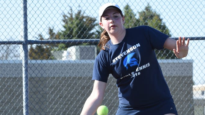 Livonia Stevenson singles player Jill Weiand, shown in a 2016 match, is one of the Spartans' valuable veterans.