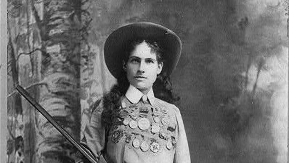 Annie Oakley, circa 1899. Library of Congress file.