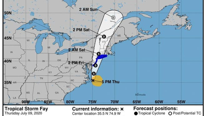Tropical Storm Fay formed off the Outer Banks Thursday afternoon.