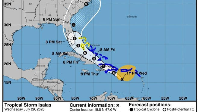 Tropical Storm Isaias formed late Wednesday in the Caribbean. The storm is forecast to approach the U.S. mainland this weekend.
