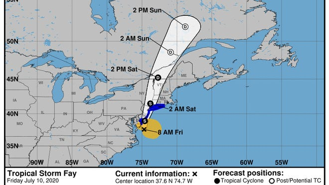 The National Weather Service's 8 a.m., Friday, advisory on Tropical Storm Fay.