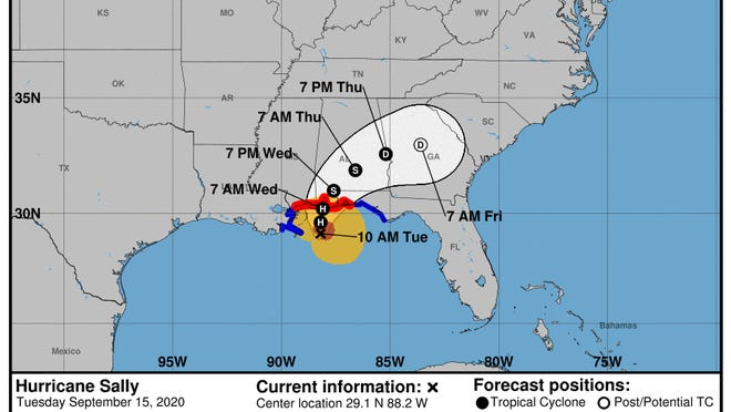 Hurricane Sally's center is likely to pass through central Georgia, bringing heavy rains to much of middle and north Georgia.