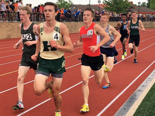Howell's David Mitter (4) and Pinckney's Ryan Talbott (19) ran the second- and third-fastest 3,200-meter races in Livingston County history at the state Division 1 track and field meet at East Kentwood on June 3, 2017.