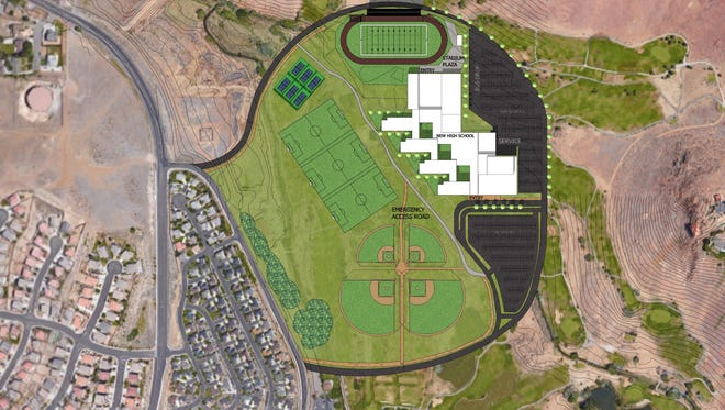 An aerial-view mock up of what the proposed Wildcreek High School might look like.
