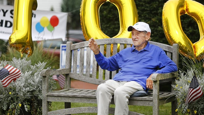 Edward Smith of Weymouth turns 100 and his friends and relatives gave him a drive by birthday celebration on Sunday August 2, 2020.