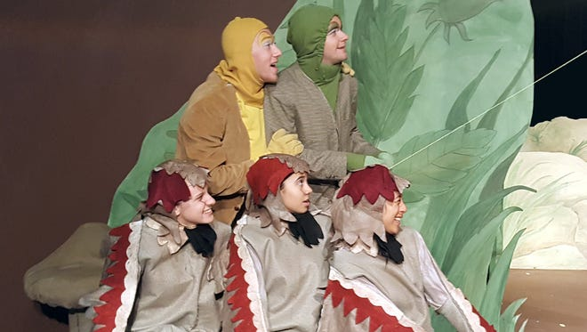 Toad (Elijah Morgan) and Frog (Thomas Calderry) enjoy flying their kite as the Birds (Diana Georgariou, Angela Goulart, Nancy Rodriguez) look on in ARIEL Theatrical's production of A Year with Frog and Toad opening Friday, December 2 at the Karen Wilson Children's Theatre in Salinas.