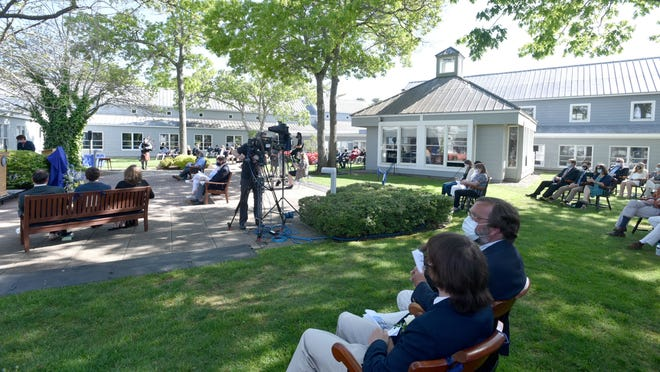 The Cape Cod Academy graduation was held outside in the school courtyard with socially distanced seating. Graduates were limited to two household members as guests.