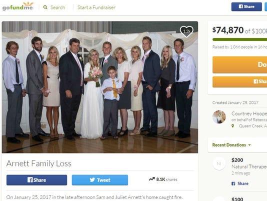 Arnett family GoFundMe page