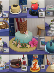 "Thirteen ""Vacation Destination"" cakes were auctioned"
