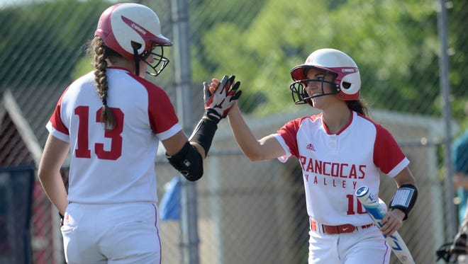 Rancocas Valley's Shauna Nuss, right, high fives Ashley Delany, after scoring a run during Monday's South Jersey Group 4 first-round playoff win over Eastern.