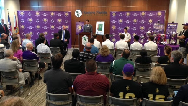 Orlando City officials and Eastern Florida State College announce Orlando City Brevard on Thursday, Oct. 15, 2015