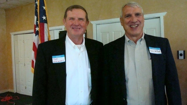 Lincoln County commissioners  Tom Stewart and Dr. Lynn Willard .