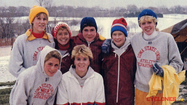 The ISU cross country team in 1985 poses after placing second in the NCAA meet. Back Row: (left to right) Charlene Letzring, Sheryl Maahs, Bonnie Sons, Sue Baxter, Jill Slettedahl Front row: (left to right) Tami Colby, Julie Rose.