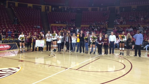 ASU volleyball honored its five seniors Friday before a match against UCLA.