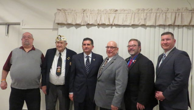 The Manitowoc United Veterans Council held its annual Veterans Day Banquet last month. Pictured with guest speaker Wisconsin Department of Veterans Affairs Secretary John Scocos, from left, is secretary Mike Demske, treasurer Al Karl, secretary John Scocos, MCUVC chairman and 2015 Manitowoc County Veteran of the Year Tom Hoffman, State Assemblyman Paul Tittl and Manitowoc County Veterans Service Officer Todd Brehmer.