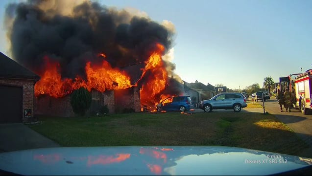 A home in Scott owned by a family displaced by Hurricane Katrina was heavily damaged in a fire Sunday.