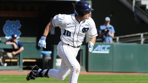 North Henderson graduate Zack Gahagan is a sophomore for the North Carolina baseball team.