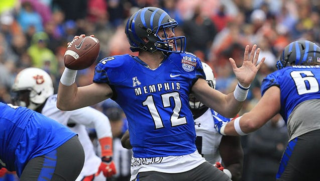 Memphis quarterback Paxton Lynch, considered a likely first-round draft pick, threw 28 touchdown passes with just four interceptions last season.