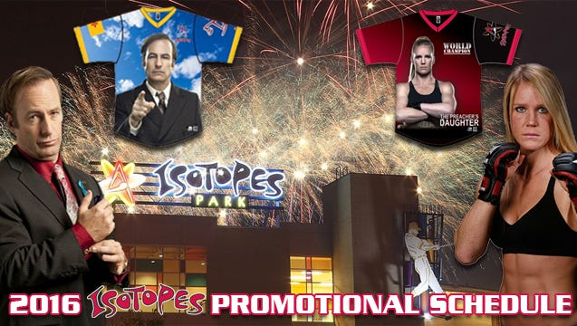 """The Albuquerque Isotopes announced a promotional schedule that includes Holly Holm and """"Better Call Saul"""" nights."""