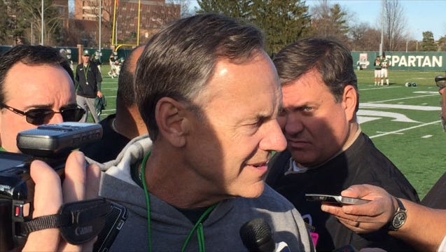 Mark Dantonio on the first day of spring practice.