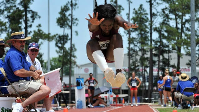 Brown (pictured) was named the Sun Belt's long jump champion in back-to-back years after recording a personal-best jump of 6.17m.