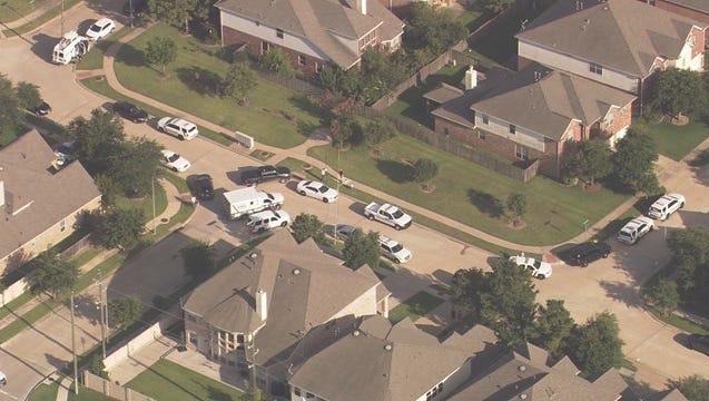 The scene of the shooting near the Houston suburb of Fulshear, Texas.