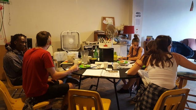 Every third Thursday, the Plant hosts an event where people get together to write letters to a political prisoner.