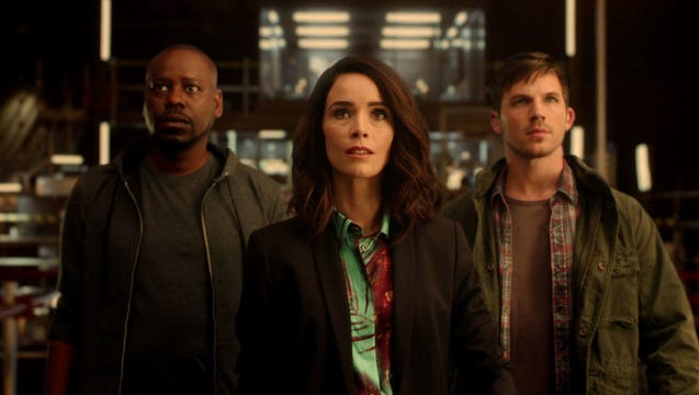 "Malcolm Barrett (left), Abigail Spencer and Matt Lanter star in NBC's ""Timeless,"" which premieres Oct. 3."
